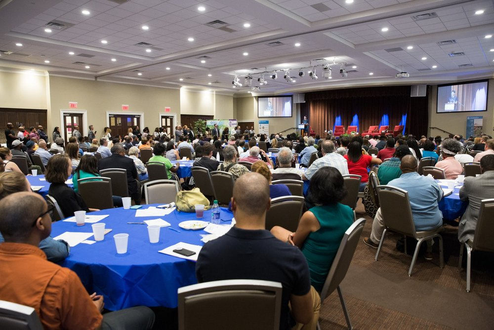 It was standing-room only as more than 300 community members attended the briefing to hear project updates, ask questions, and listen to a panel discussion concerning equity on the BeltLine, led by the Center for Civic Innovation's Executive Director Rohit Malhotra. Panelists included Mayor Keisha Lance Bottoms; Odetta MacLeish-White, Managing Director of the Transformation Alliance; Brian McGowan, President and CEO of Atlanta BeltLine, Inc. (ABI); Tim Keane, Commissioner of the City of Atlanta Department of Planning; and Brandon Riddick-Seals, interim Executive Director of Atlanta Housing.