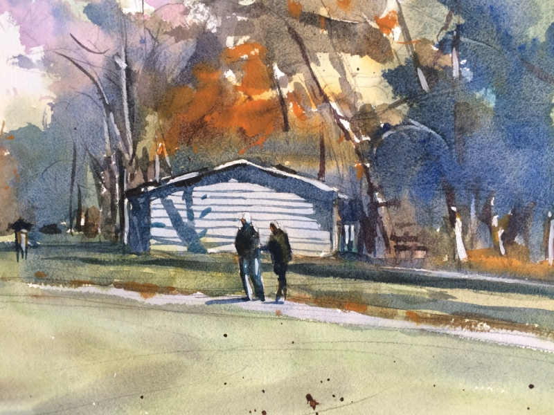 "Mid October watercolor 11""x14""by David Lee"