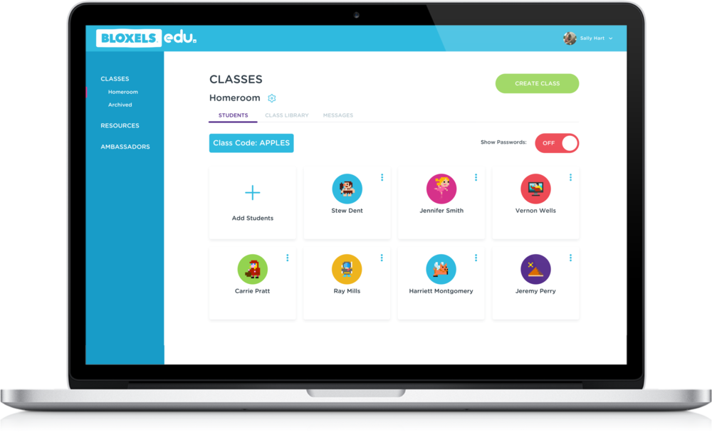 The Bloxels EDU Hub enables teachers to manage student accounts, review student created content, award badges, and more.