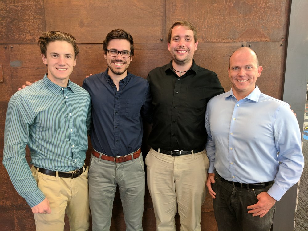 From left to right: C.O.O. Derek Jouppi, C.E.O. Andrew Martinko, C.T.O. Chad Sweeting, & Dr. Juri Mobus, Head of R&D.