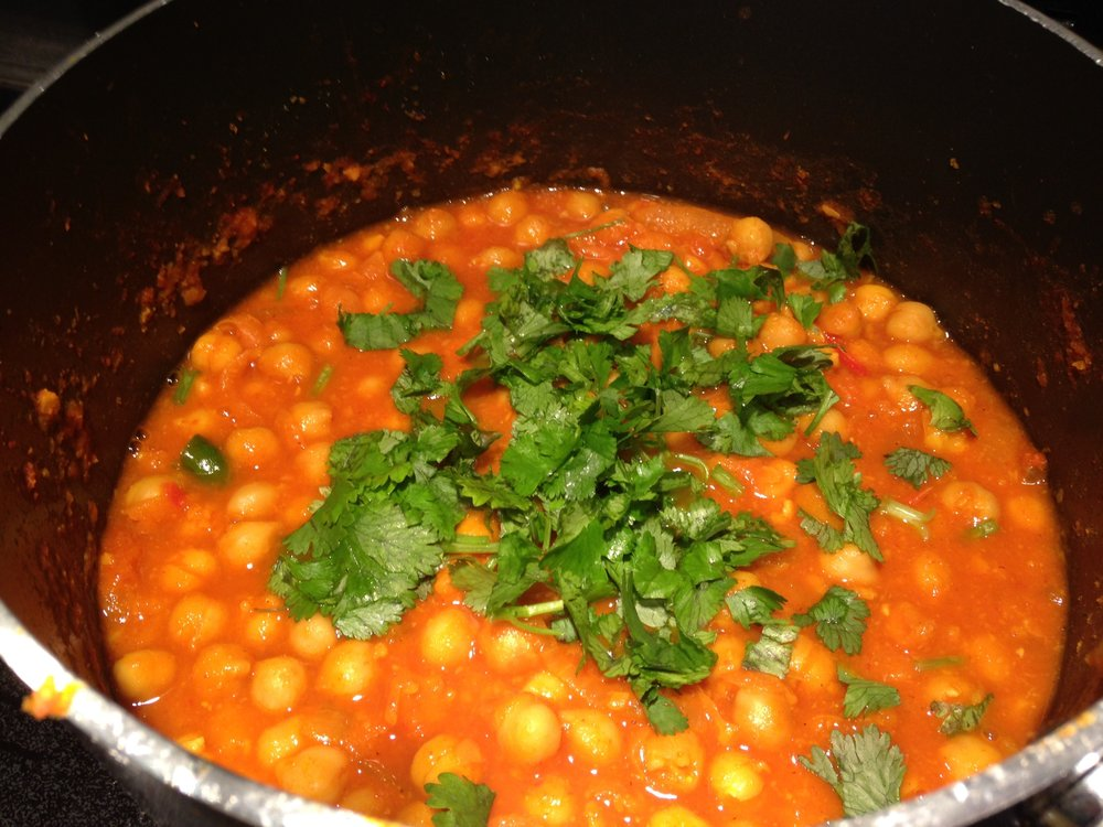 My home  made chickpea curry. Spicy...the way I like it!!