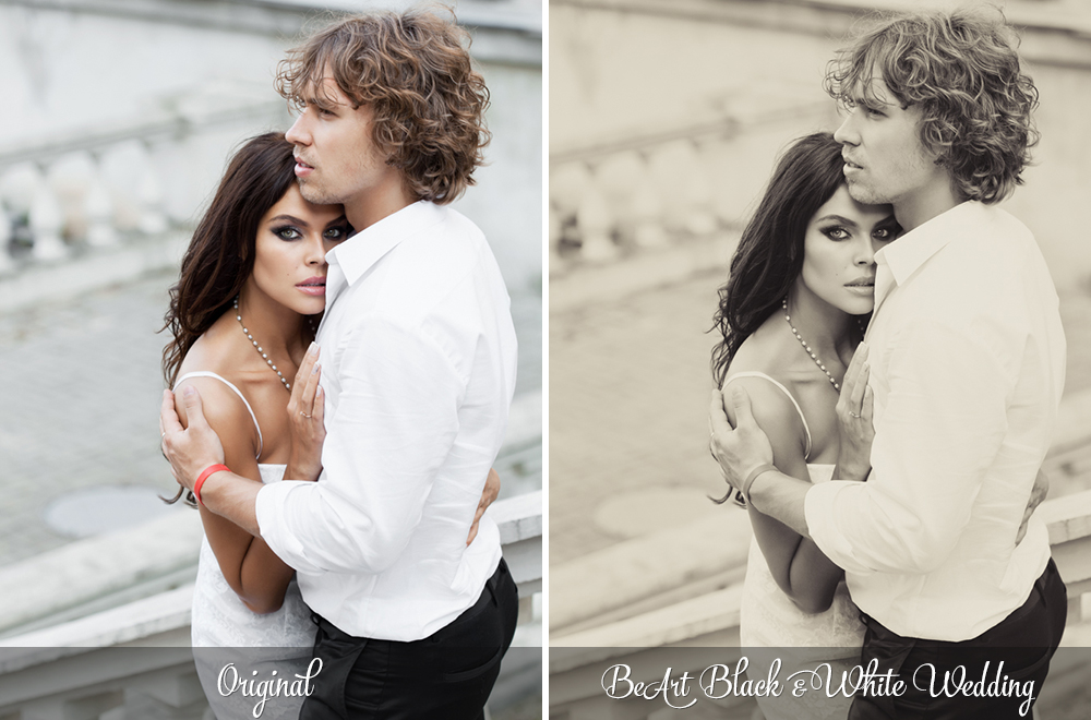 Black and White Wedding Lightroom Presets, Photoshop actions & Camera RAW Presets by @BeArtPresets