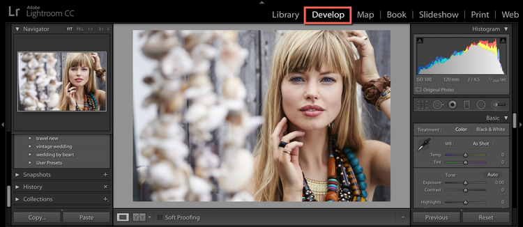 develop mode in lightroom