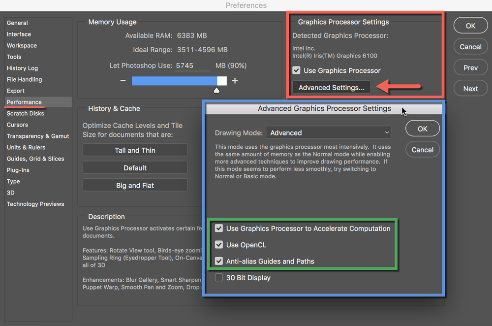 use graphic processor to speed up photoshop cc