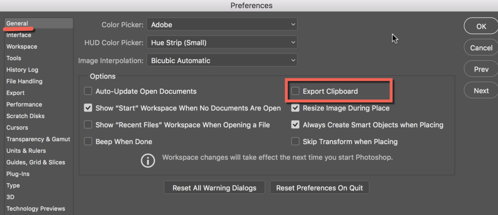 export clipboard in ps cc version