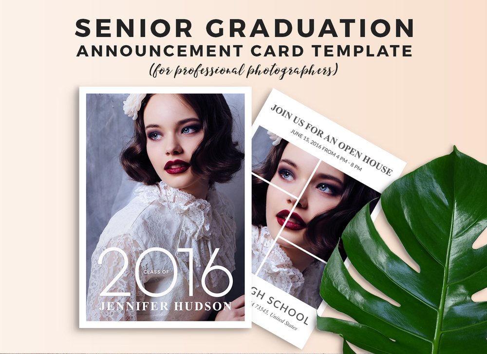 Senior graduation announcement card template