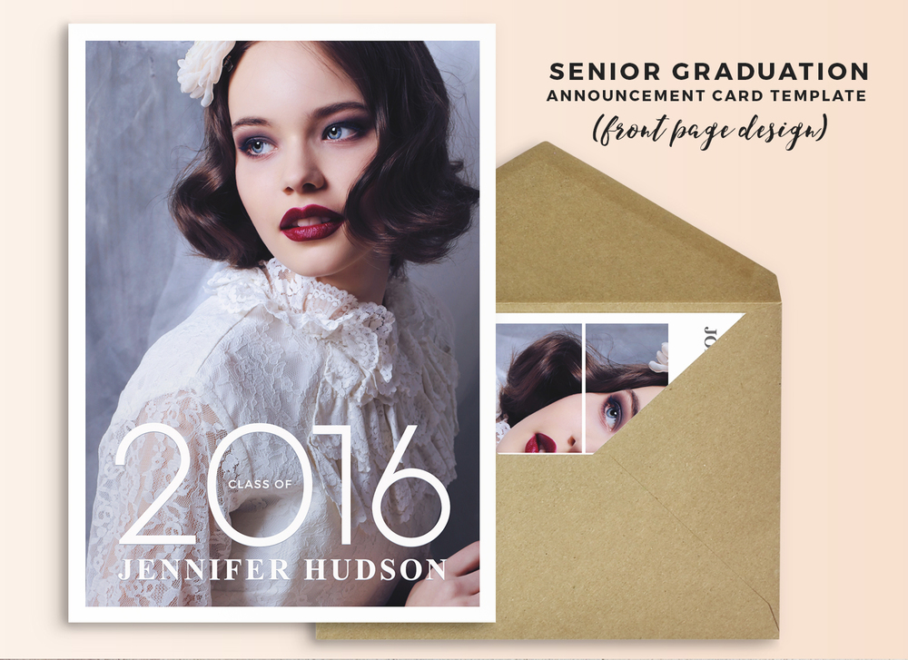 Announcement card template for senior photography