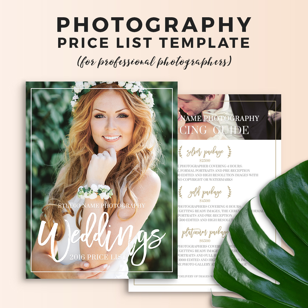 wedding photography price sheet template olivia
