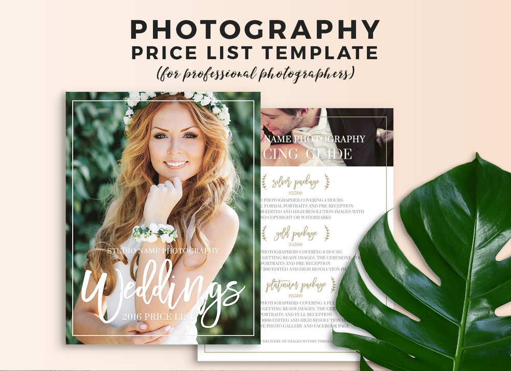 Wedding Photography Price Sheet