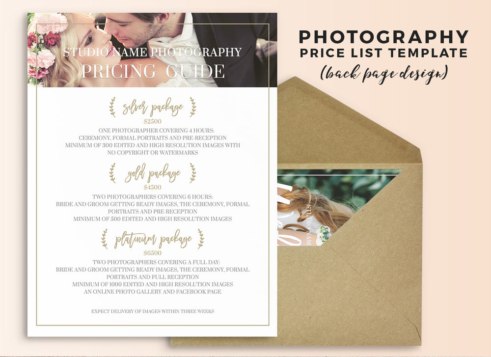 Beautiful Wedding Photography Price List Template