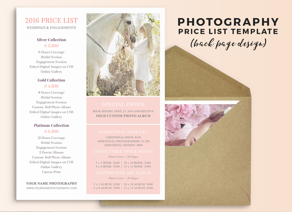 Wedding Photography Price Sheet Template  Price Sheet Template