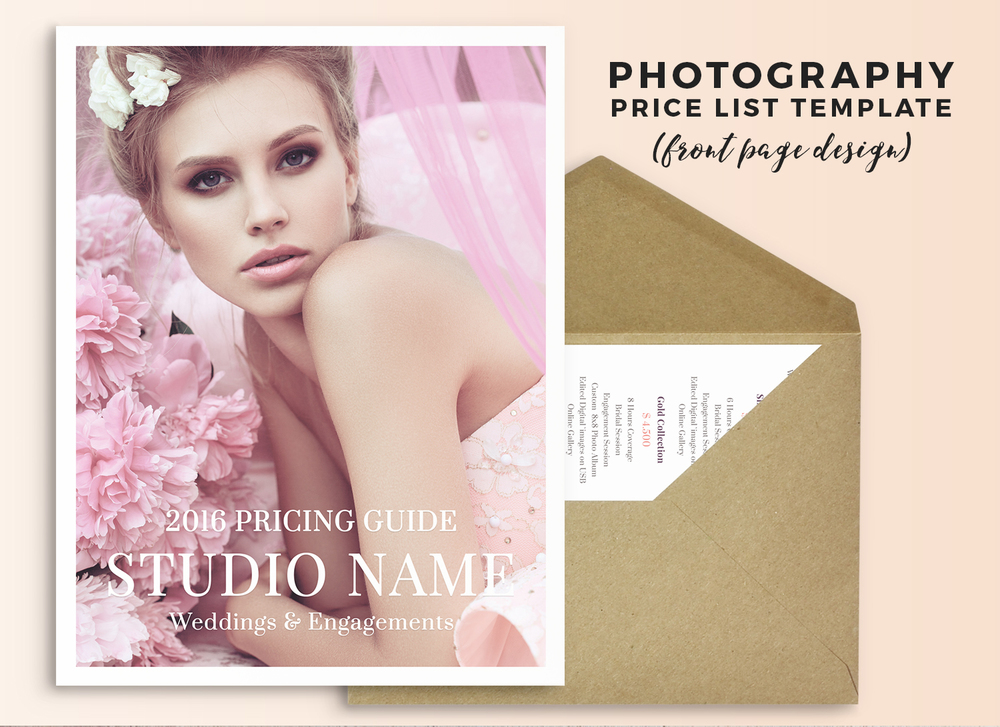 Wedding photography price list Photoshop template
