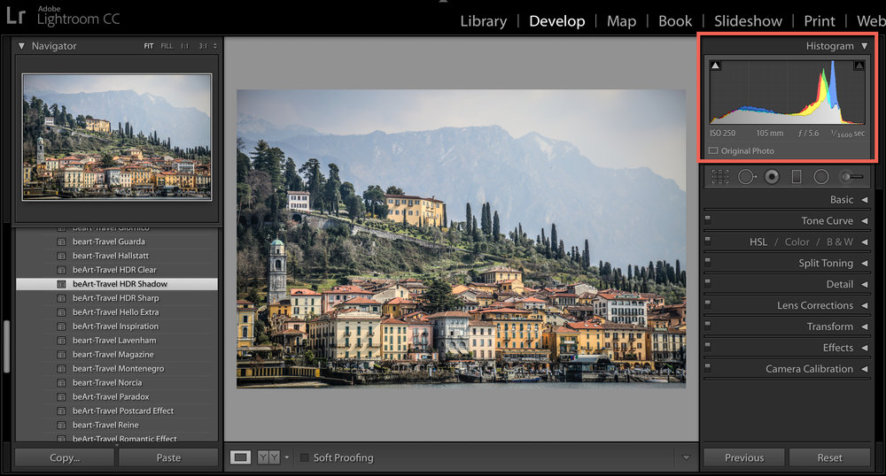 Understanding histogram in lightroom