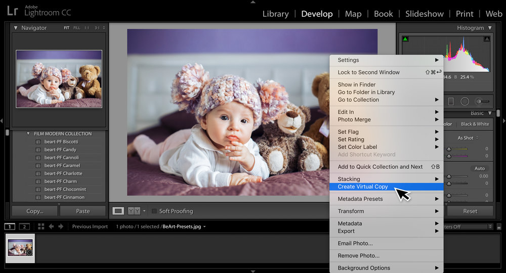 create virtual copy in lightroom