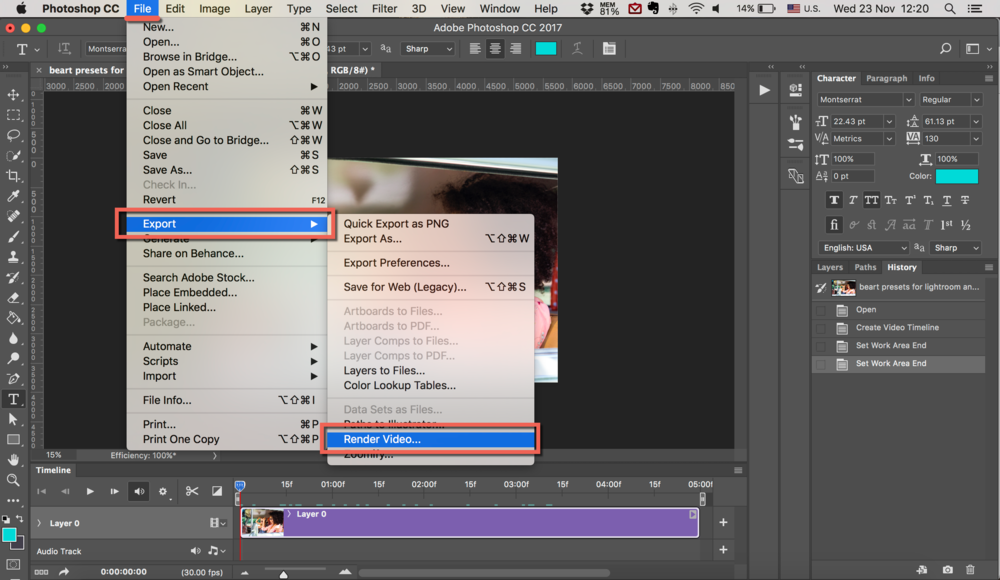 export video in photoshop