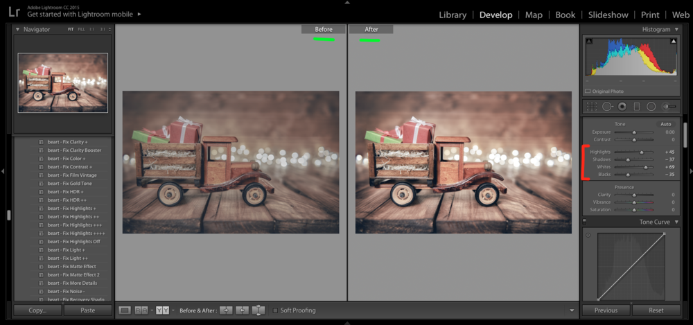 photo editing in lightroom