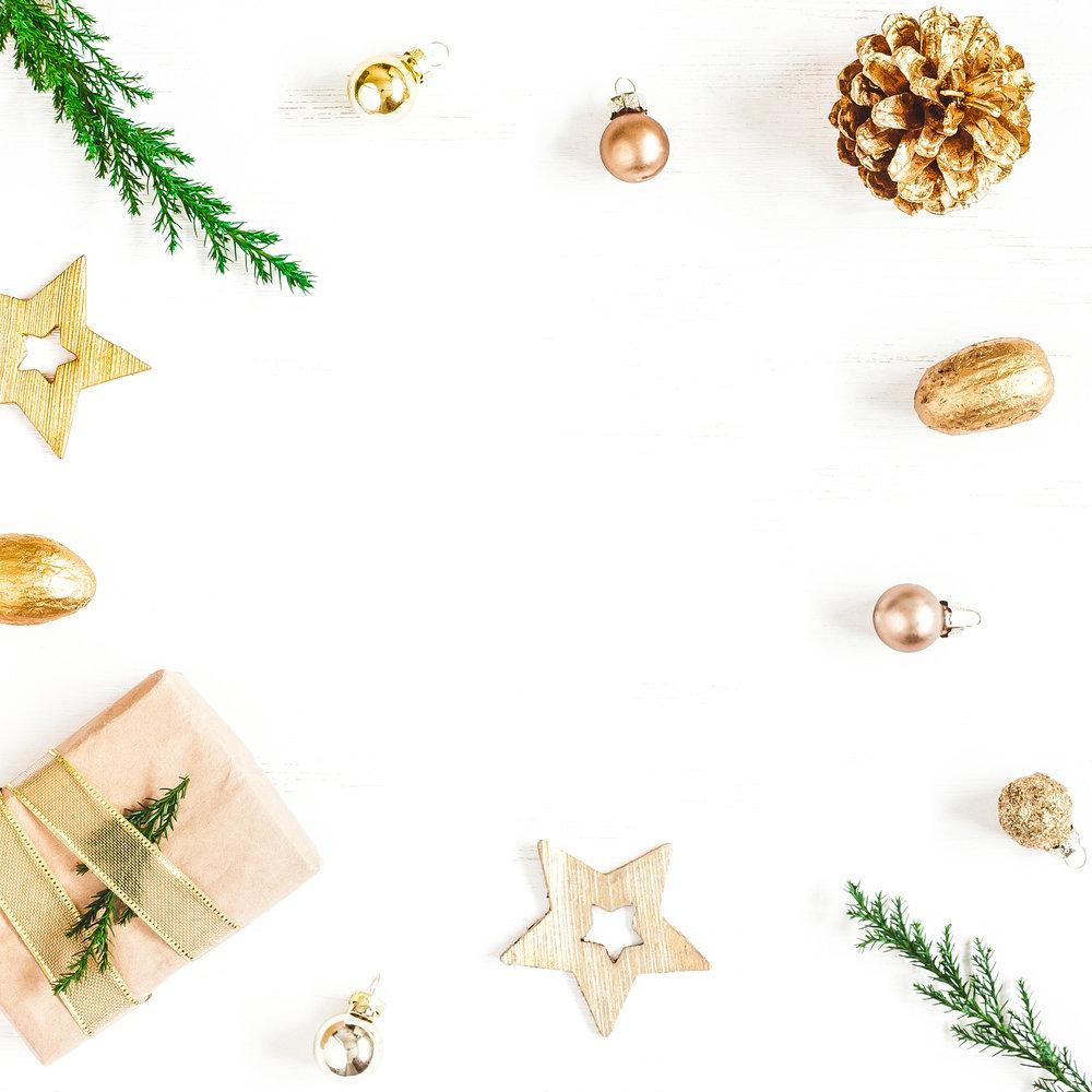 Christmas Composition. Gift, Christmas Decoration, Cypress Branc