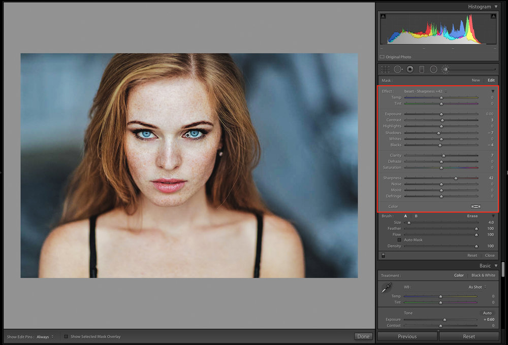 sharpness in adobe lightroom