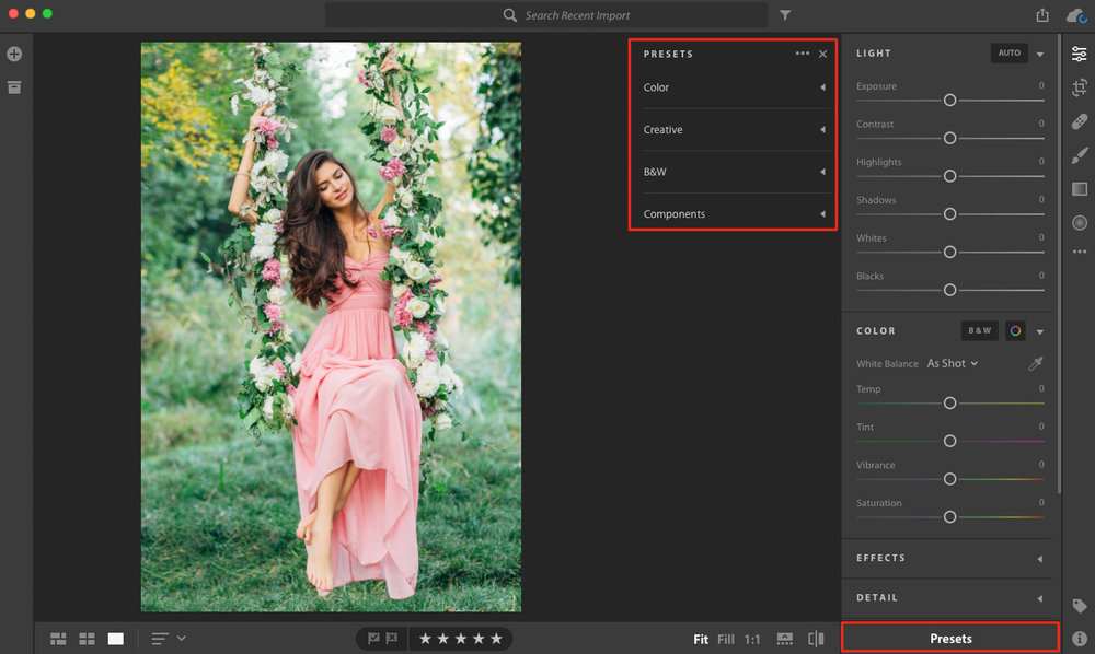 presets setting in Lightroom CC