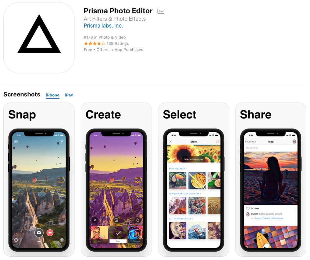prisma app for edit photography