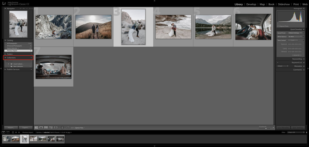 create a new collection in lightroom