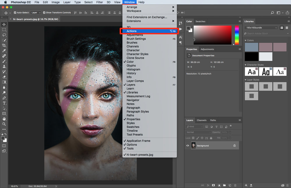 choose an action in photoshop