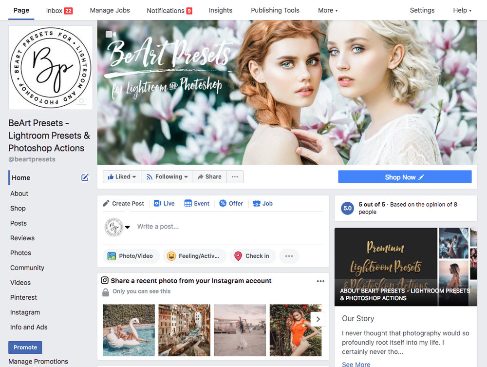 facebook for beart-presets