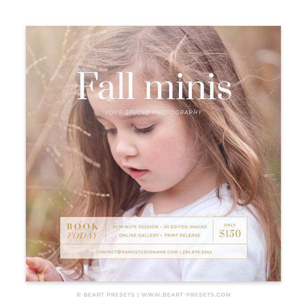 Fall Mini Session Marketing Template for Photoshop