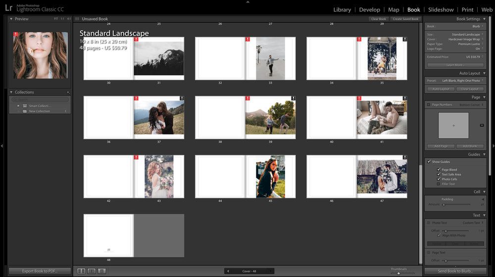 books option in lightroom
