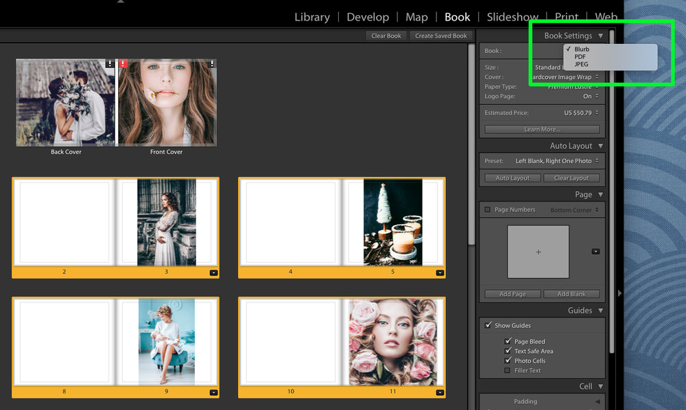 book settings in lightroom