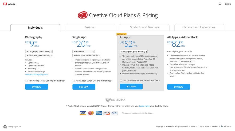 creative cloud plans