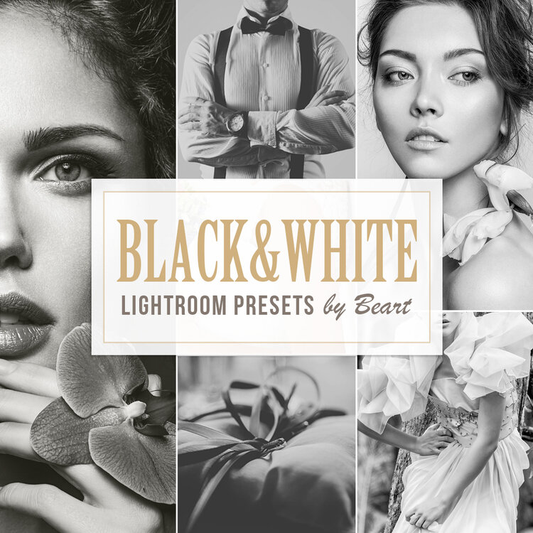 Black and white lightroom presets, photoshop actions and acr presets