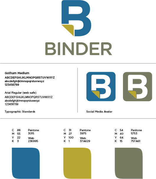 Visual System    The Binder logo and Avatar specifications are outlined on this page.