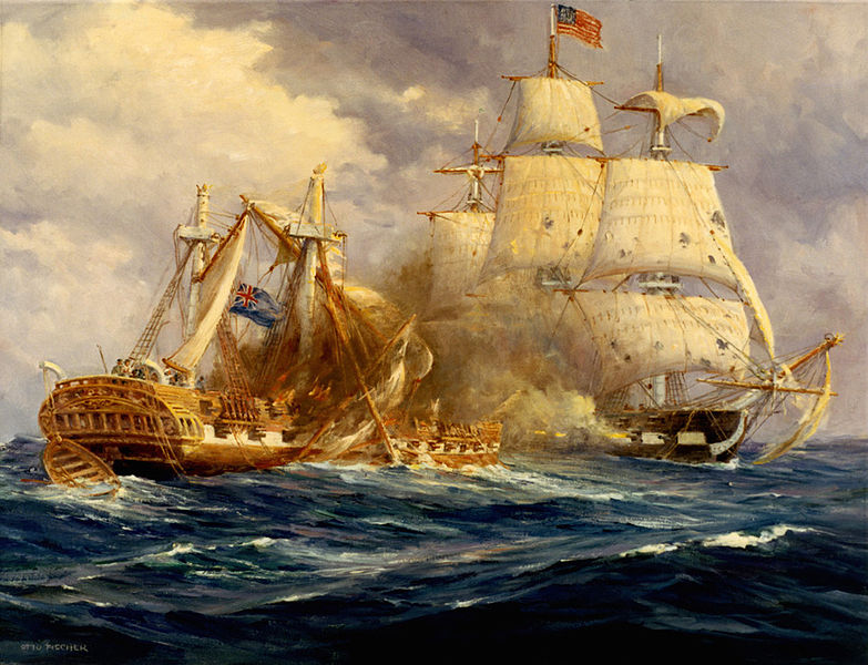 USS Constitution engaging and defeating the frigate HMS Guerriere on August 19, 1812.