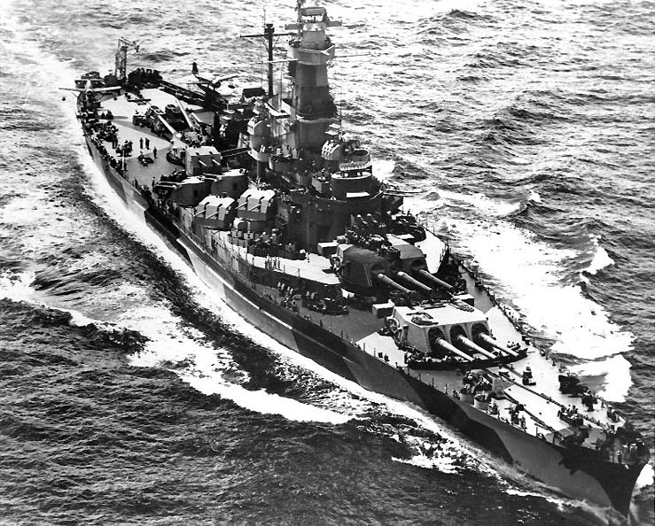 The USS  Indiana  in the spring of 1944, after repairs from her collision with  Washington .