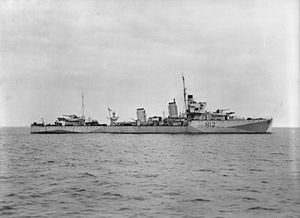 The HMS Achates, an A-class destroyer. Source: Imperial War Museum.