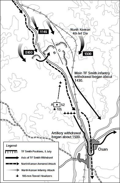 TF Smith's positions and the North Korean advance. Source: www.koreanwar.net