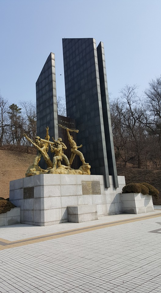 The current monument to the Battle of Osan, unveiled in 1982 by the South Korean government. The monument is on the opposite side of the road of the original monument, at the base of the hill where most of TF Smith was dug in. Source: author.