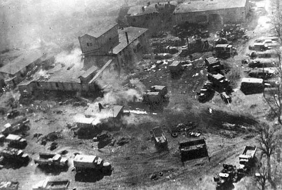 Another in-flight picture taken during a Shturmovik attack, this time the target of the attack appears to be a German motor pool or headquarters.