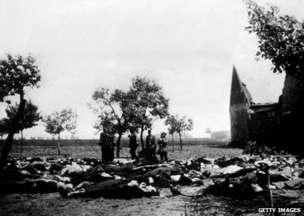 The aftermath of the reprisal killings in the village of Lidice, near Prague. The entire village was killed or deported, and all structures razed to the ground. (image source: Getty Images)