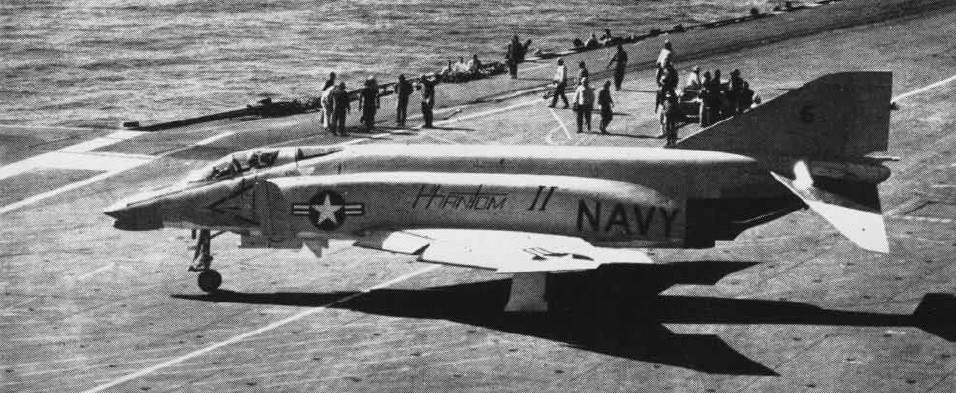An F4H-1 during carrier trials.