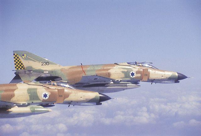 Israeli F-4 Phantoms in formation.