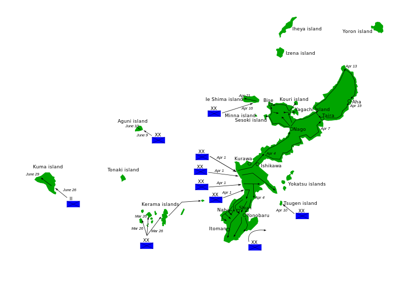 The landing zones of the Tenth Army and Marine forces during the invasion of Okinawa.