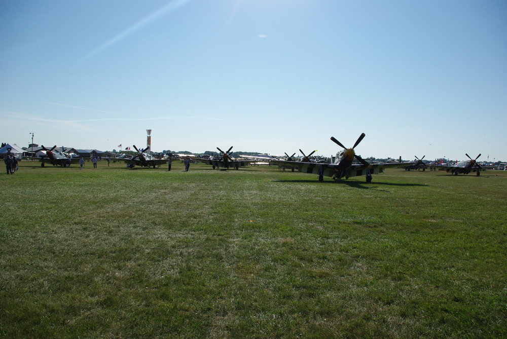 A group of Mustangs at the EAA Oshkosh airshow in 2011. Well over a hundred Mustangs remain airworthy, with many more in museums and on display at airshows. Source: Author.