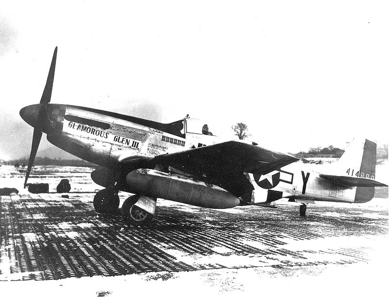 Chuck Yeager's second P-51D, Glamorous Glen III, in which he shot down most of his 12.5 kills. Source: Wikipedia.