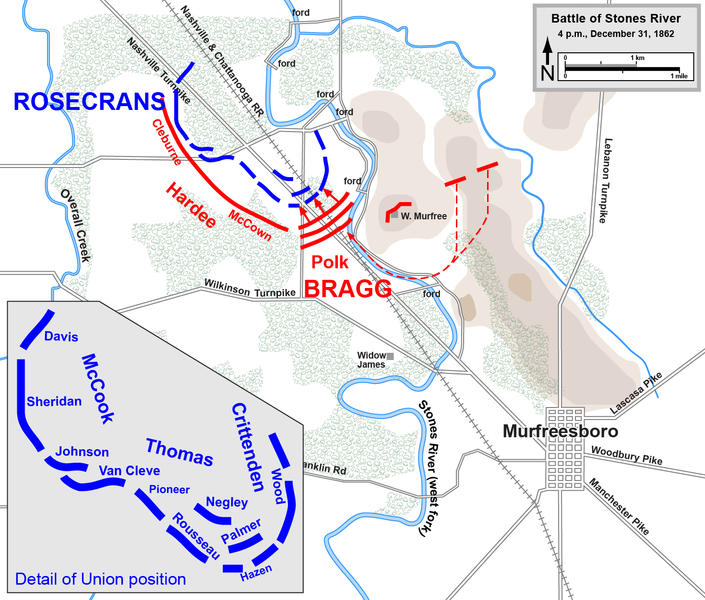 The tactical situation at the end of December 31st, following the Union withdrawal to the turnpike.
