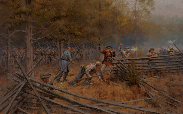 Confederate infantry, taking fire from the Union defensive line along the turnpike, struggle to advance across the cotton fields.
