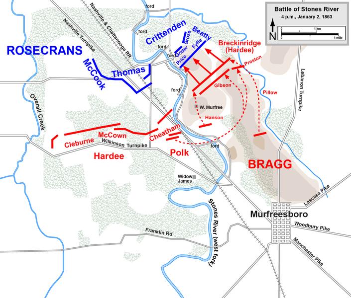 Breckenridge's division attacks the Union positions atop a hill near the river.