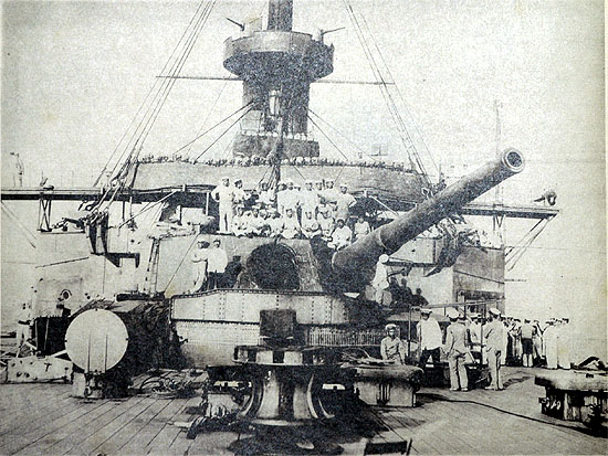 Mikasa's after turret, damaged in the Battle of the Yellow Sea. Source: National Institute for Defense Studies, Ministry of Defense.