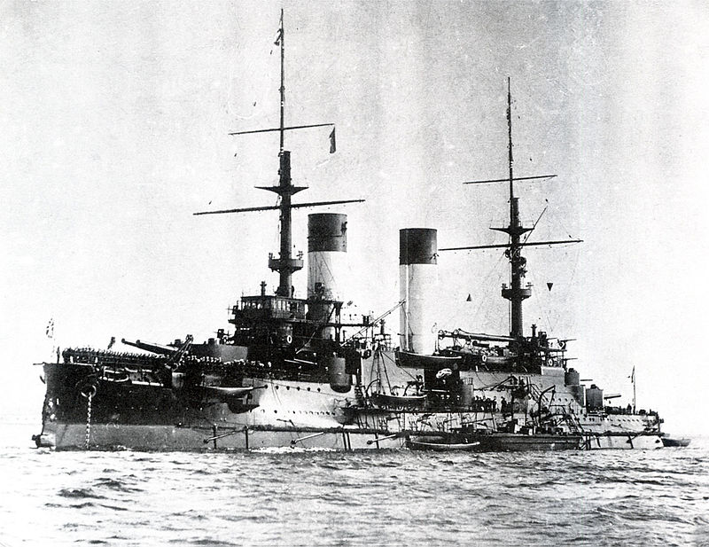 The battleship Knyav Suvorov, Rohestvensky's flagship. Hit countless times by Japanese gunfire, including a hit which incapacitated the admiral with a head wound, the battleship was abandoned and sank. Photo: Wikipedia.